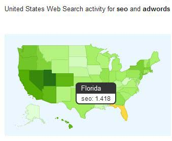 Google Correllate shows maps for web search activity
