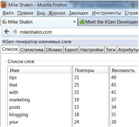 Kgen Keyword Generator Firefox addon